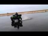 Ice quadro dancing (CFmoto X8, Arctic Cat) - Pskov, Chudskoe lake