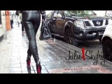 hooker & slave: Walking all in leather legging & louboutin thigh high boots (public flashing)