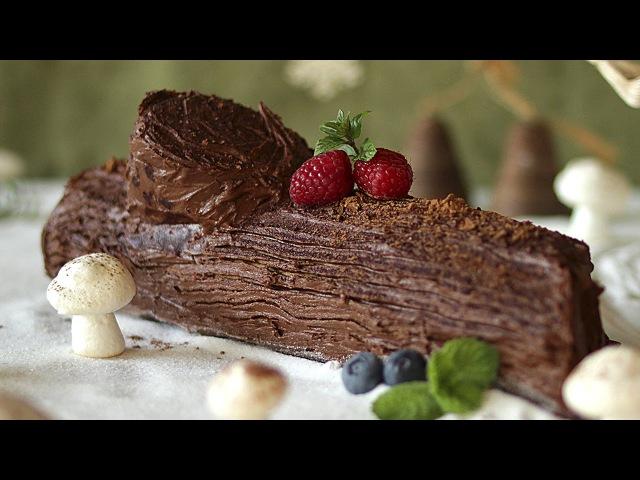 Новогодний рецепт торта Шоколадное полено