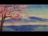 Как нарисовать гору и дерево гуашью [Картина за 3 минуты!]