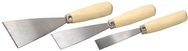 Набор шпательных лопаток с деревянной ручкой, 3шт, 30, 50, 80мм   ТЕВТОН