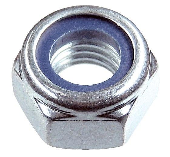 Гайка шестигранная DIN 985 самостопорящаяся, с нейлоновым кольцом, класс прочности 8, оцинкованная   ЗУБР