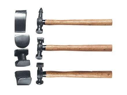 Набор рихтовочный, 3 молотка с деревянными ручками, 4 наковальни   SPARTA