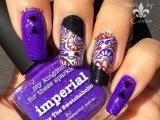 Silver x Purple Paisley Stamping Nail Art