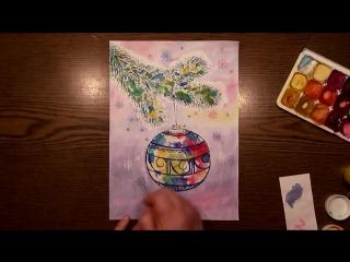 Быстрое Рисование | Новогодняя Игрушка | Техника Монотипия | Гуашь