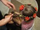 Зачіска зі стрічкою канзаши Прическа с лентой канзаши