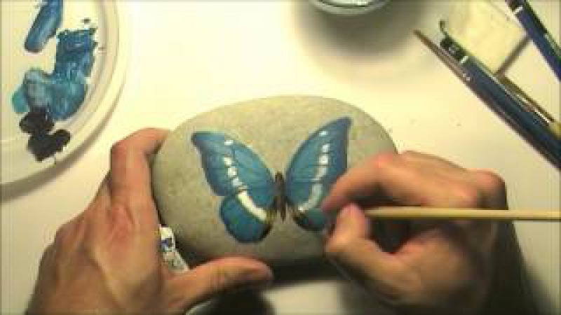 How to paint a butterfly on a sea rock   Time-lapse painting video tutorial