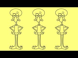 How to draw Squidward SpongeBob characters - Как нарисовать Сквидварда