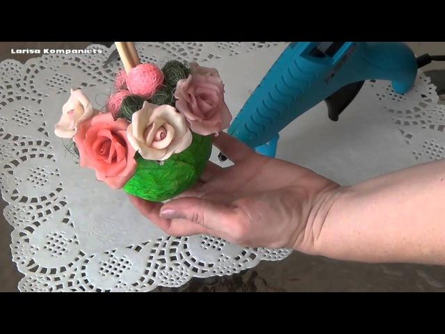 Цветы из холодного фарфора. Дерево счастья из роз. Часть 2.
