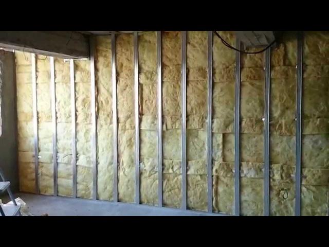 гипсокартон, обшивка стен (2 слоя), монтаж каменная вата. Plasterboard Wall and mineral wool.
