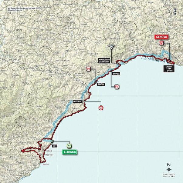 Маршрут. Этап 2: Albenga – Genova, 177 км
