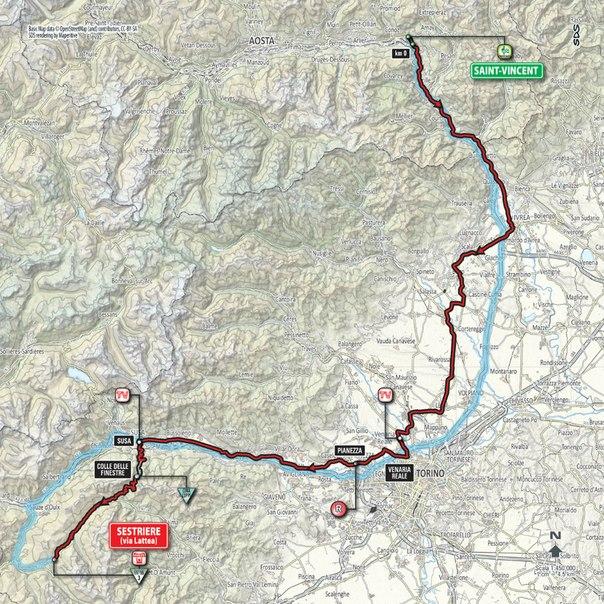 Маршрут. Этап 20: Saint Vincent – Sestriere, 199 км