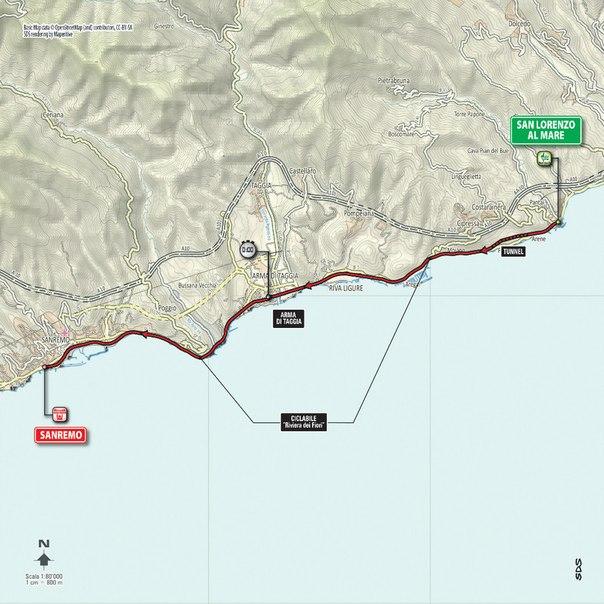 Маршрут. Этап 1: San Lorenzo al Mare - San Remo (TTT), 17.6 км