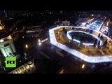 Кадры открытия гигантского катка на ВДНХ с высоты птичьего полета