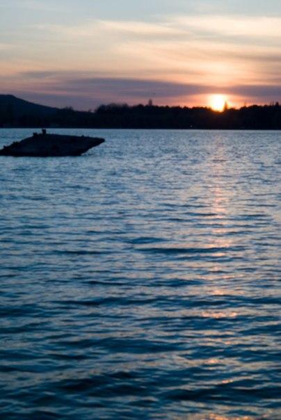 закат, озеро, Пятигорск, солнце на воде
