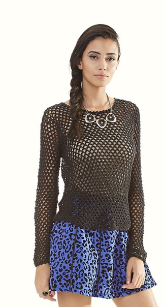 Ажурная блузка в сеточку (2 фото) - картинка