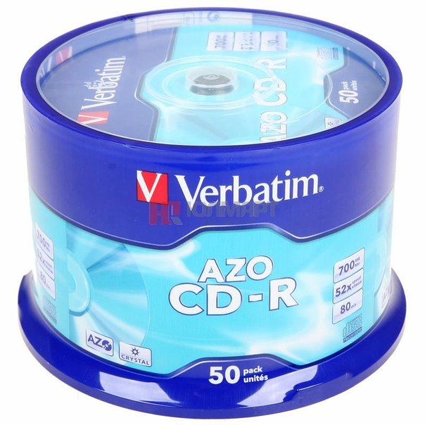 Диски cd-r 700mb 52x super azo crystal verbatim