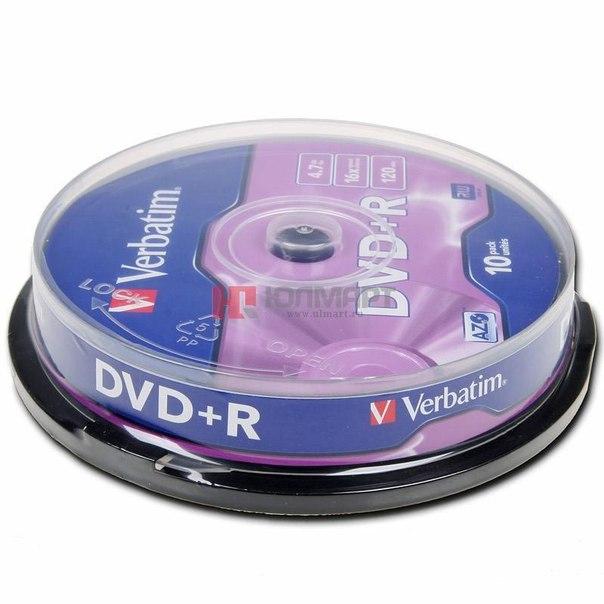 Диски dvd+r 4.7gb 16x azo+ verbatim