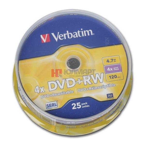 Диски dvd+rw 4.7gb 4x verbatim