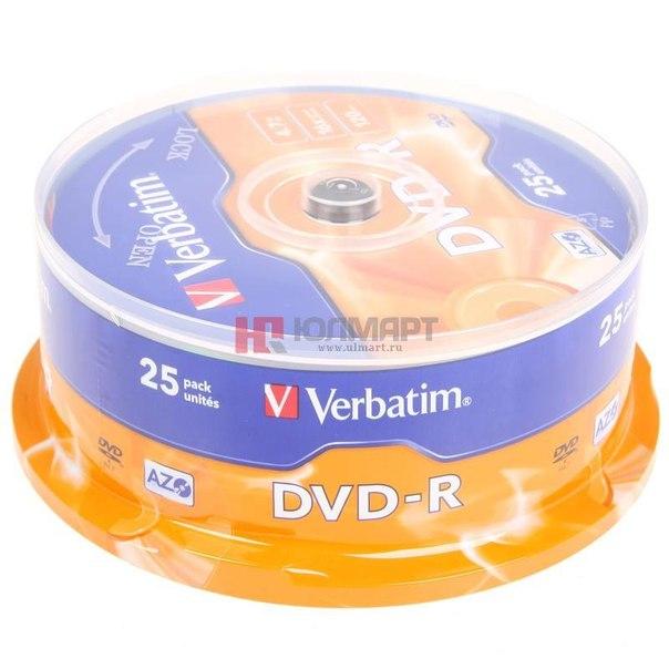 Диски dvd-r 4.7gb 16x azo+ verbatim