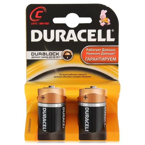 Батарейки c (lr14) 2шт. duracell щелочные
