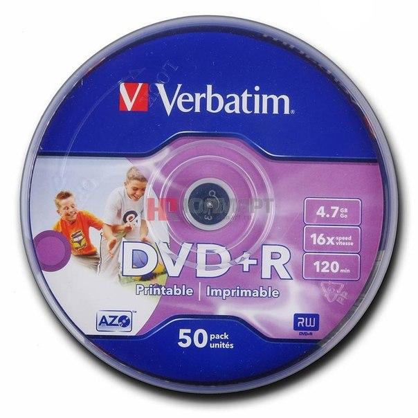 Диски dvd+r 4.7gb 16x photo printable verbatim