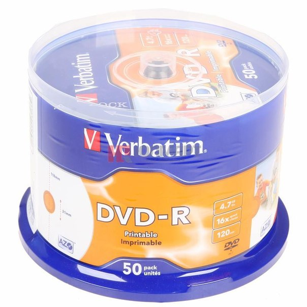Диски dvd-r 4.7gb 16x photo printable verbatim