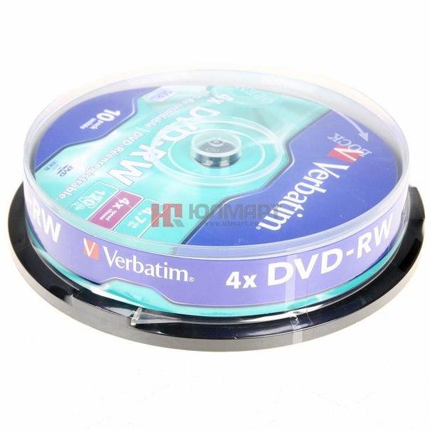 Диски dvd-rw 4.7gb 4x verbatim
