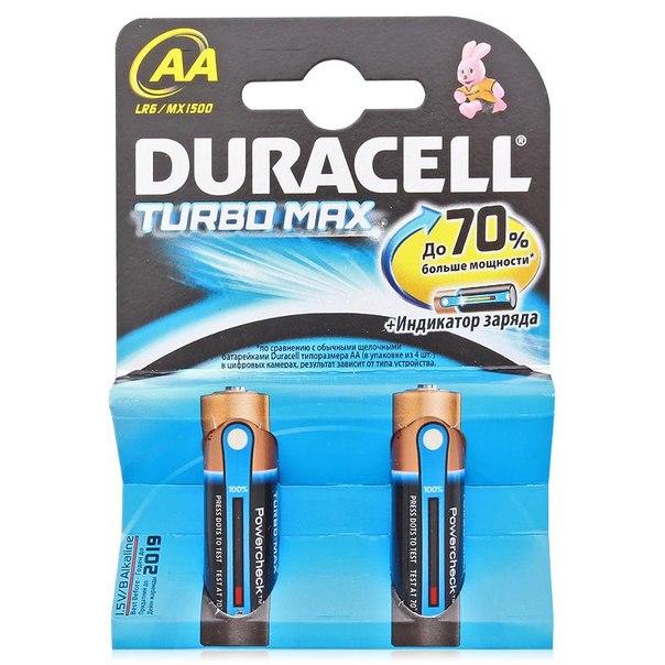 Батарейки aa (lr6) 2шт. duracell щелочные turbomax