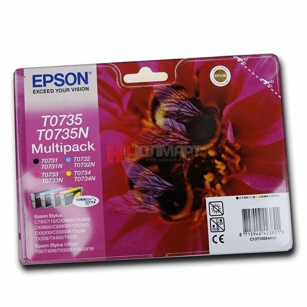 Набор epson t10554a/t0735n из 4 картриджей