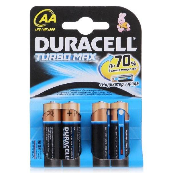 Батарейки aa (lr6) 4шт. duracell щелочные turbomax