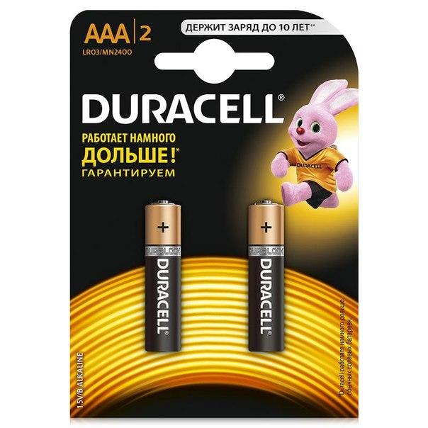 Батарейки aaa (lr3) 2шт. duracell щелочные basic