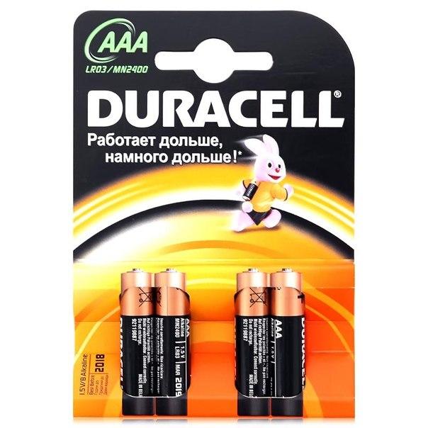 Батарейки aaa (lr3) 4шт. duracell щелочные basic
