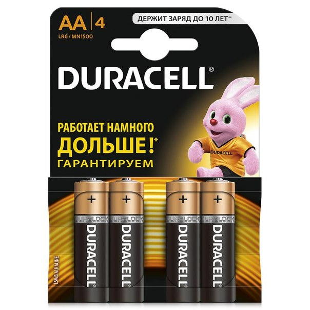 Батарейки aa (lr6) 4шт. duracell щелочные basic