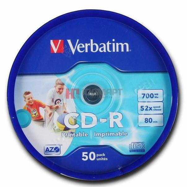 Диски cd-r 700mb 52x printable verbatim
