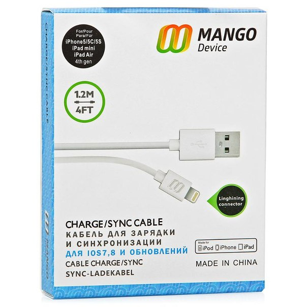 Кабель mango device lightning, для apple iphone 5/5s/5c/6, ipad air и ipad mini with retina, 1,2 м, белый