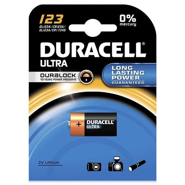 Батарейка cr123 1шт. duracell литиевая ultra