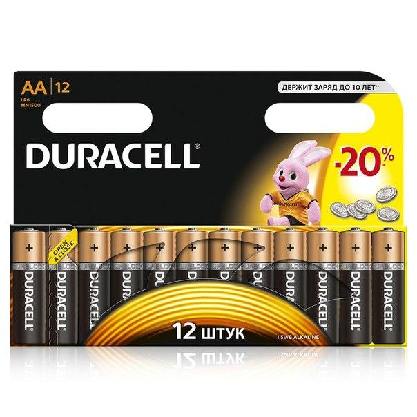 Батарейки aa (lr6) 12шт. duracell щелочные basic