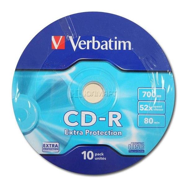 Диски cd-r 700mb 52x verbatim shrink