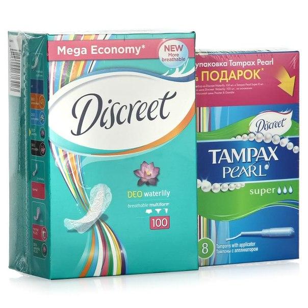 Ежедневные гигиенические прокладки discreet deo водная лилия 100шт + тампоны tampax 8шт