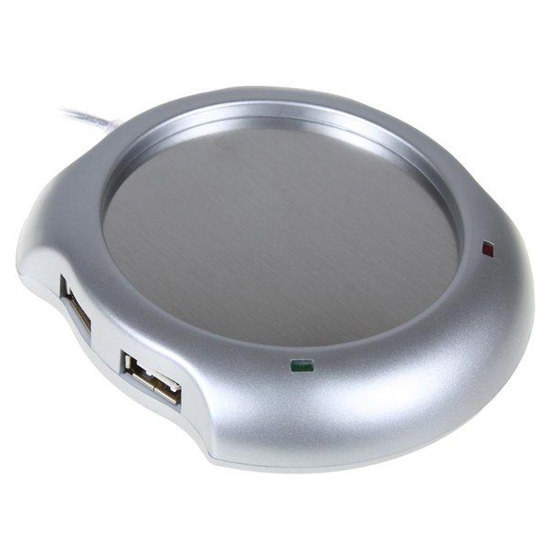 Нагреватель usb orient w1002b со встроенным hub 4port, серебристый