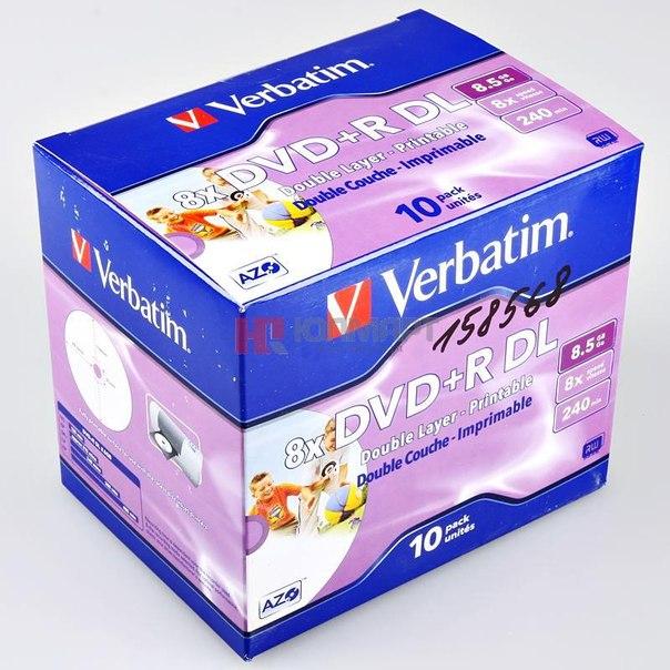 Диски dvd+r 8.5gb 8x printable verbatim