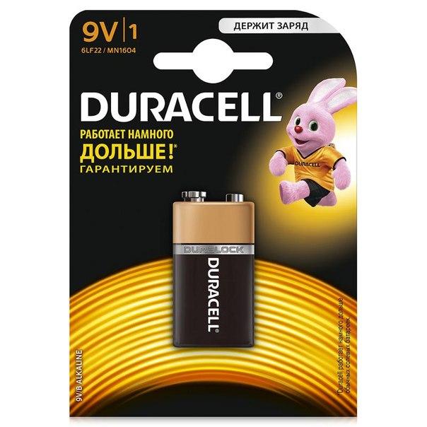 "Батарейка ""крона"" (6lr61/6lf22) 1шт. duracell щелочная"