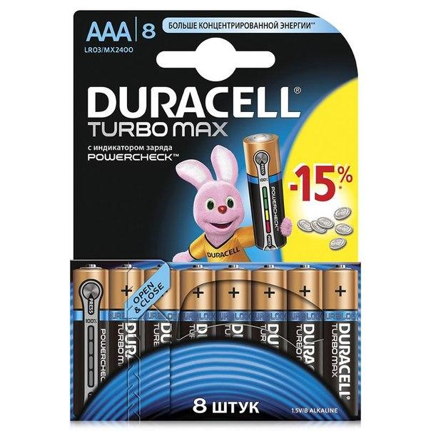 Батарейки aaa (lr3) 8шт. duracell щелочные turbomax