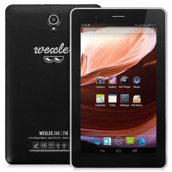 "Планшет wexler.tab 7id 16gb + 3g, 7"" ips 1024x600, dual core, black, черный"