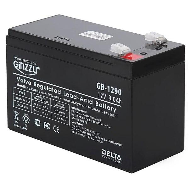 Батарея аккумуляторная ginzzu gb-1290, 12v 9.0ah