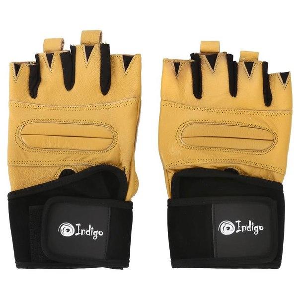 Перчатки тяжелоатлетические indigo, размер l, натуральная кожа