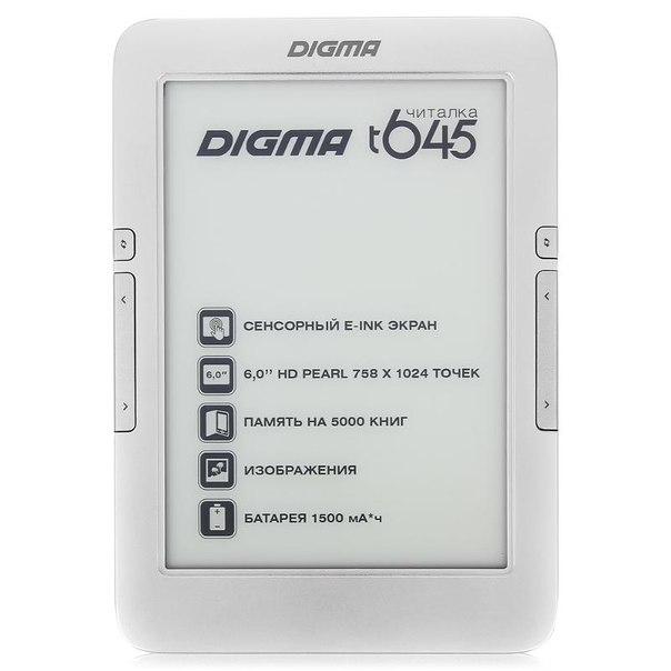 "Digma t645 6"" e-ink hd pearl серебристая"