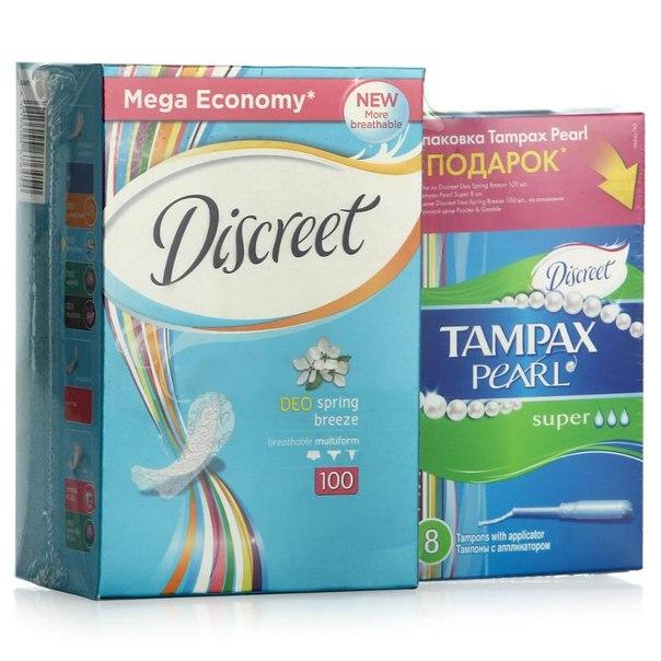 Ежедневные гигиенические прокладки discreet deo весенний бриз, 100шт + тампоны tampax 8шт
