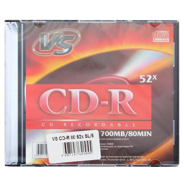 Диск cd-r 700mb 52x slimcase (5шт) vs